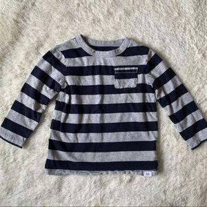 BABY GAP | Navy Blue & Gray Striped Shirt